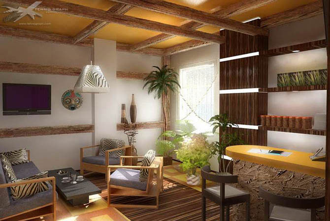 деревянный интерьер современного дома