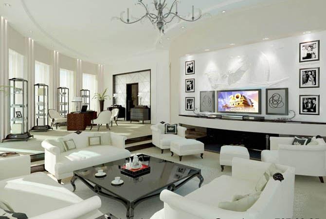 чертеж интерьера гостинной комнаты